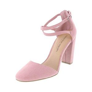 NWT Christian Siriano Faux Suede Pink Block Heels